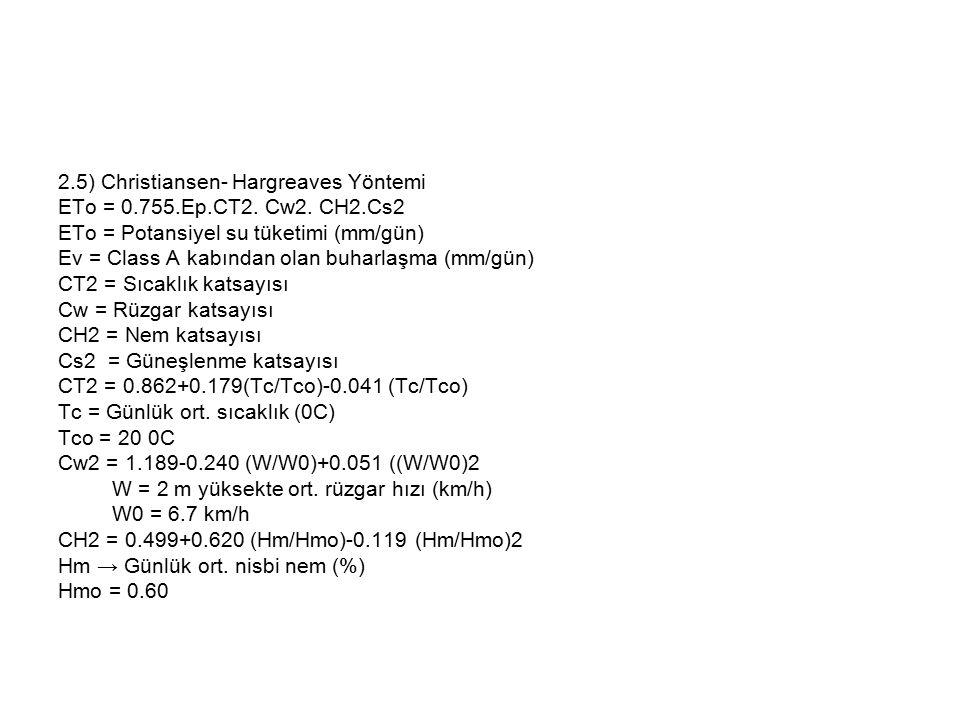 2.5) Christiansen- Hargreaves Yöntemi ETo = 0.755.Ep.CT2. Cw2. CH2.Cs2 ETo = Potansiyel su tüketimi (mm/gün) Ev = Class A kabından olan buharlaşma (mm