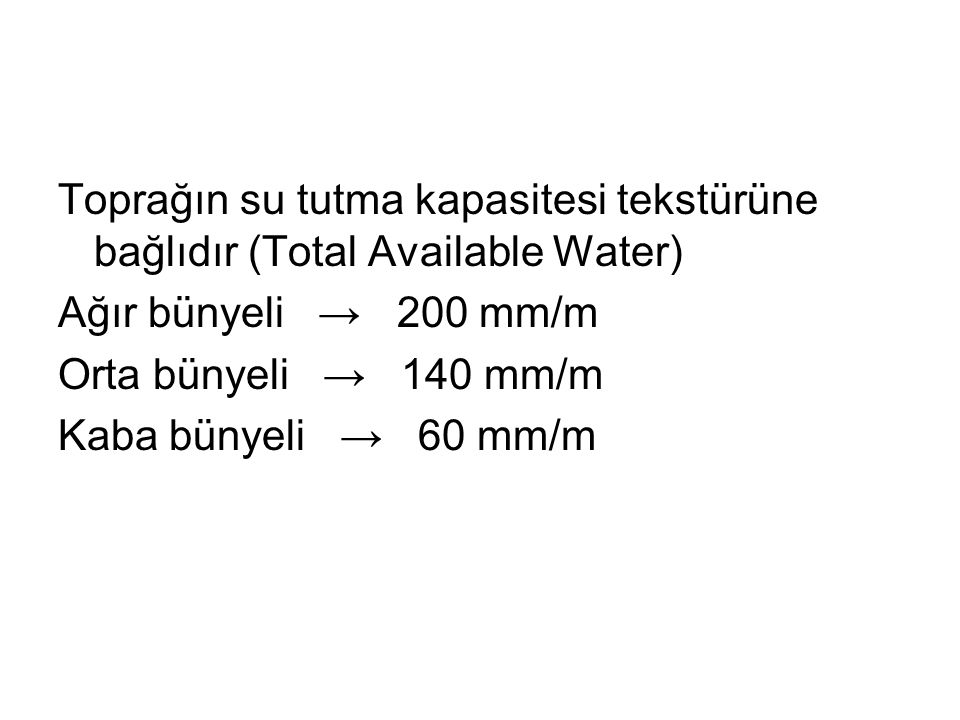 Toprağın su tutma kapasitesi tekstürüne bağlıdır (Total Available Water) Ağır bünyeli → 200 mm/m Orta bünyeli → 140 mm/m Kaba bünyeli → 60 mm/m