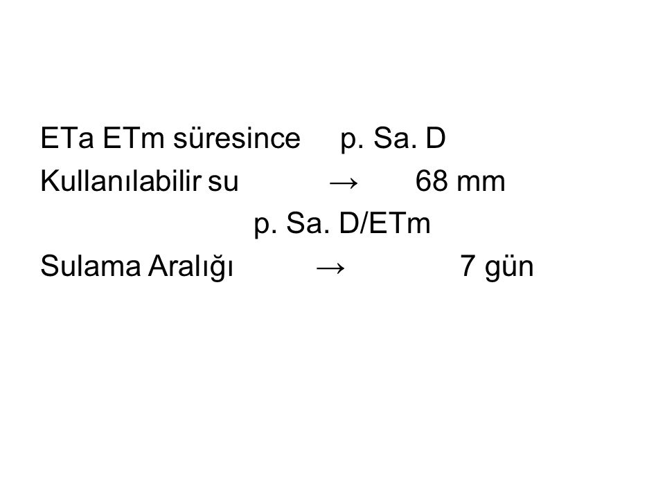 ETa ETm süresince p. Sa. D Kullanılabilir su → 68 mm p. Sa. D/ETm Sulama Aralığı → 7 gün
