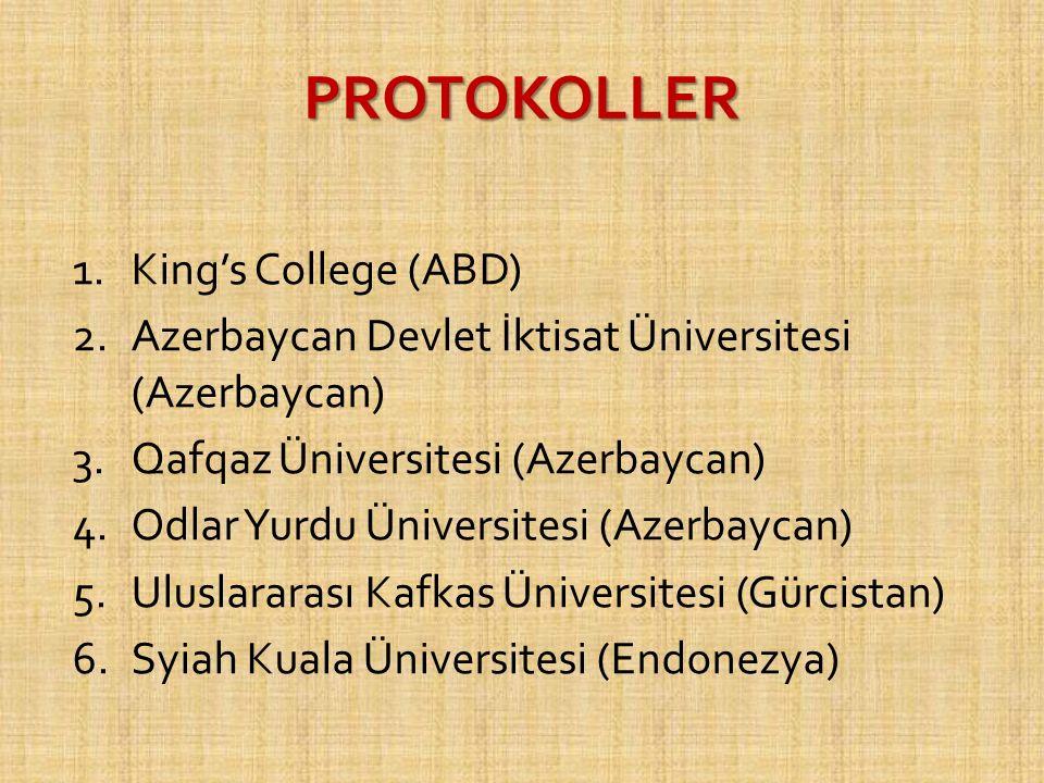 PROTOKOLLER 1.King's College (ABD) 2.Azerbaycan Devlet İktisat Üniversitesi (Azerbaycan) 3.Qafqaz Üniversitesi (Azerbaycan) 4.Odlar Yurdu Üniversitesi