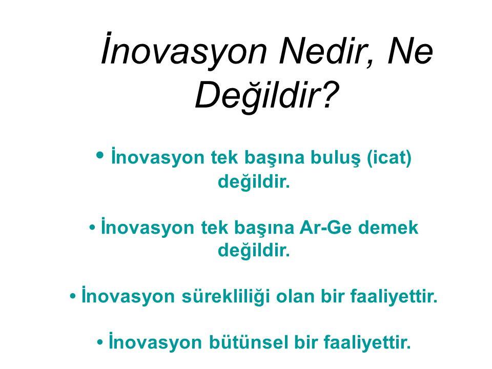 İnovasyon Nedir, Ne Değildir? İnovasyon tek başına buluş (icat) değildir. İnovasyon tek başına Ar-Ge demek değildir. İnovasyon sürekliliği olan bir fa