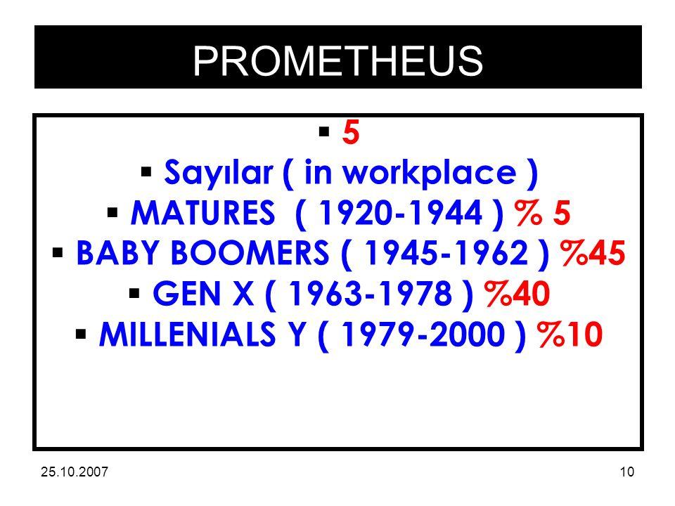 PROMETHEUS 25.10.200710 55  Sayılar ( in workplace )  MATURES ( 1920-1944 ) % 5  BABY BOOMERS ( 1945-1962 ) %45  GEN X ( 1963-1978 ) %40  MILLENIALS Y ( 1979-2000 ) %10
