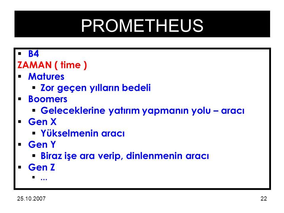 PROMETHEUS 25.10.200722  B4 ZAMAN ( time )  Matures  Zor geçen yılların bedeli  Boomers  Geleceklerine yatırım yapmanın yolu – aracı  Gen X  Yükselmenin aracı  Gen Y  Biraz işe ara verip, dinlenmenin aracı  Gen Z ...