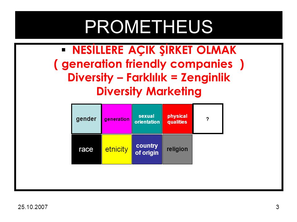 PROMETHEUS 25.10.20073  NESİLLERE AÇIK ŞİRKET OLMAK ( generation friendly companies ) Diversity – Farklılık = Zenginlik Diversity Marketing gender generation sexual orientation raceetnicity country of origin physical qualities religion