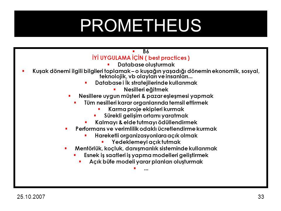 PROMETHEUS 25.10.200733  B6 İYİ UYGULAMA İÇİN ( best practices )  Database oluşturmak  Kuşak dönemi ilgili bilgileri toplamak – o kuşağın yaşadığı dönemin ekonomik, sosyal, teknolojik, vb olayları ve insanları...
