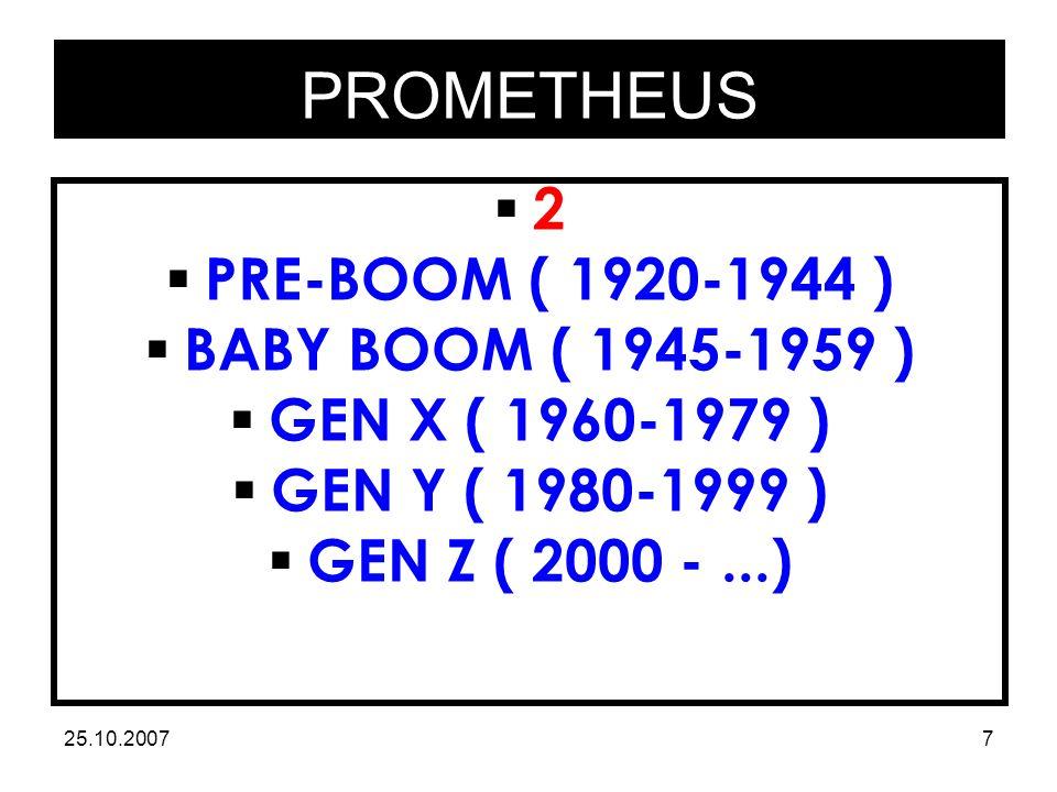 PROMETHEUS 25.10.20077 22  PRE-BOOM ( 1920-1944 )  BABY BOOM ( 1945-1959 )  GEN X ( 1960-1979 )  GEN Y ( 1980-1999 )  GEN Z ( 2000 -...)