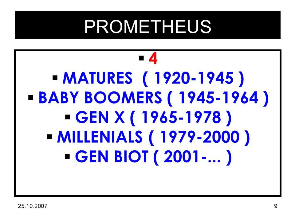 PROMETHEUS 25.10.20079 44  MATURES ( 1920-1945 )  BABY BOOMERS ( 1945-1964 )  GEN X ( 1965-1978 )  MILLENIALS ( 1979-2000 )  GEN BIOT ( 2001-...