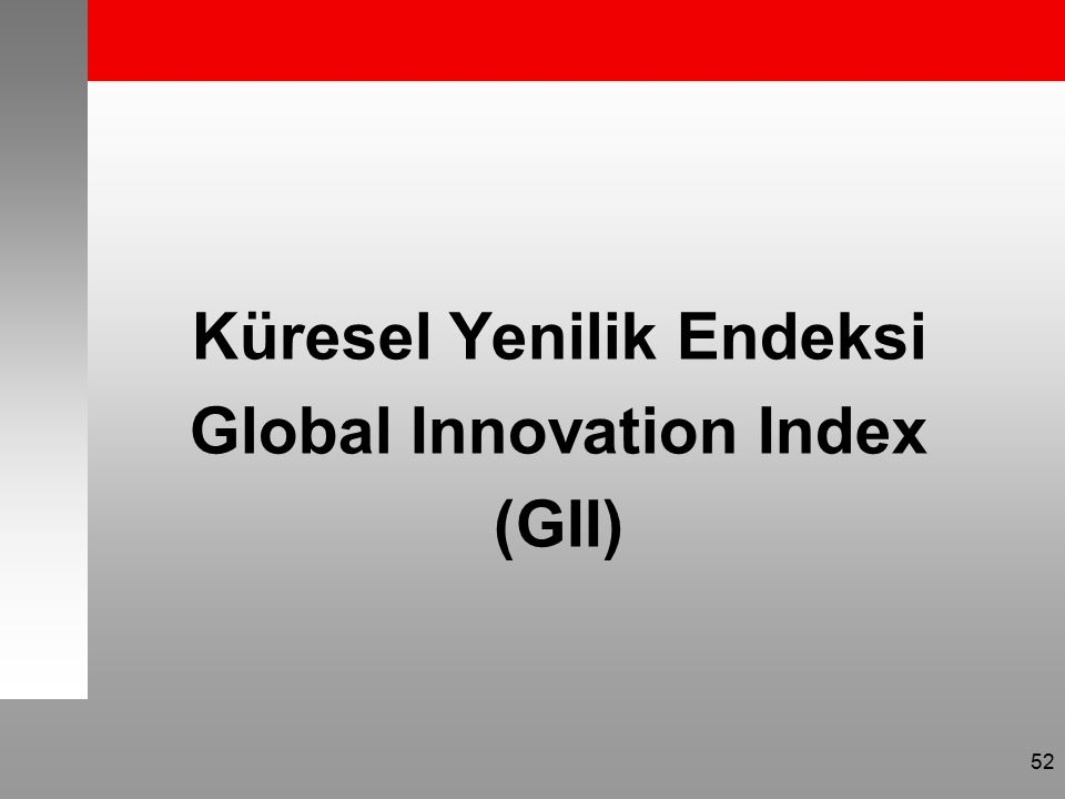 Küresel Yenilik Endeksi Global Innovation Index (GII) 52