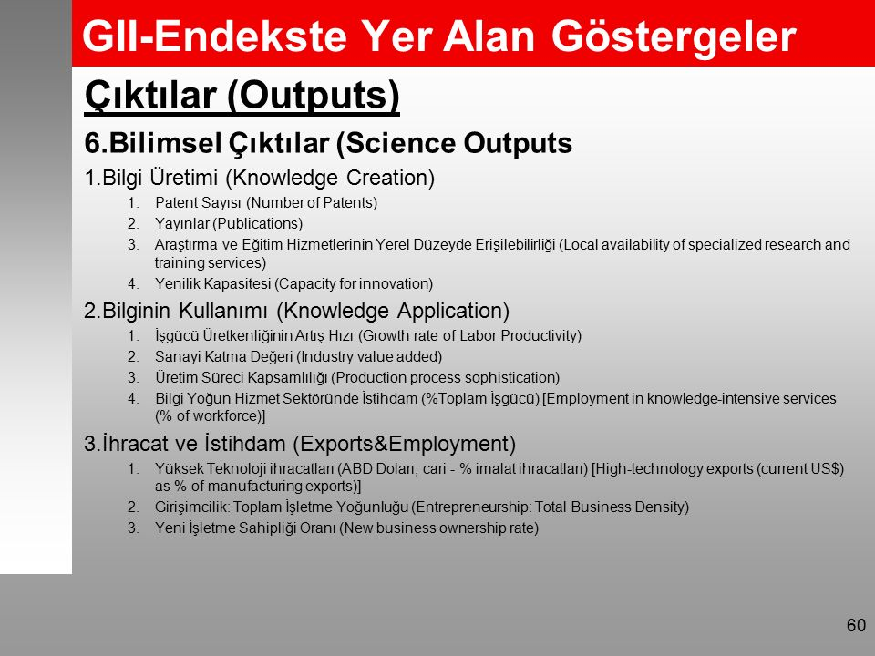 GII-Endekste Yer Alan Göstergeler Çıktılar (Outputs) 6.Bilimsel Çıktılar (Science Outputs 1.Bilgi Üretimi (Knowledge Creation) 1.Patent Sayısı (Number