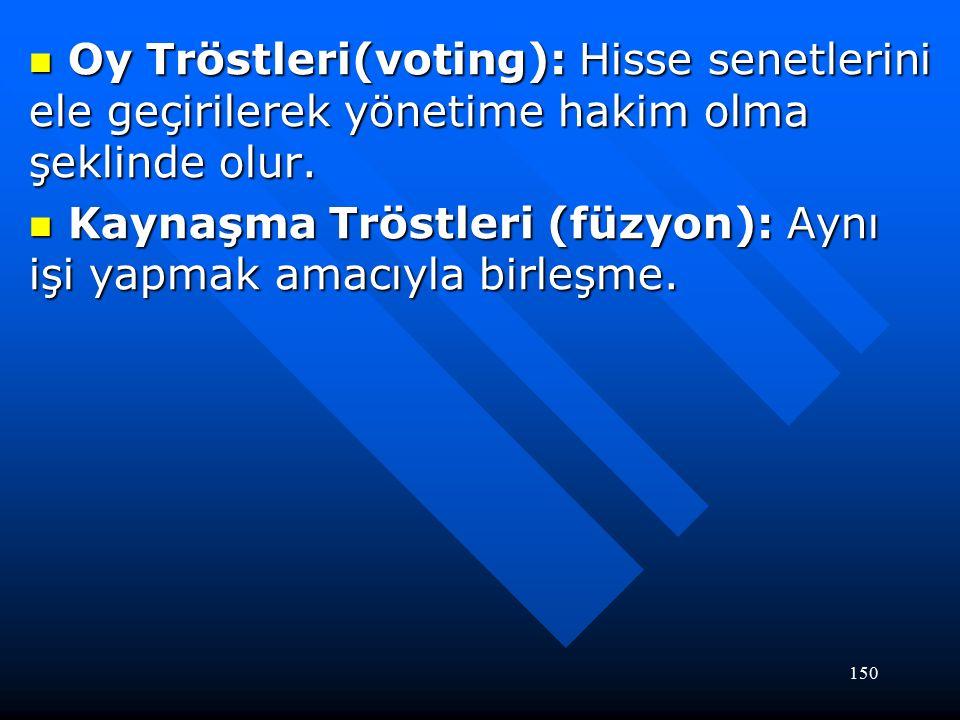 150 Oy Tröstleri(voting): Hisse senetlerini ele geçirilerek yönetime hakim olma şeklinde olur.