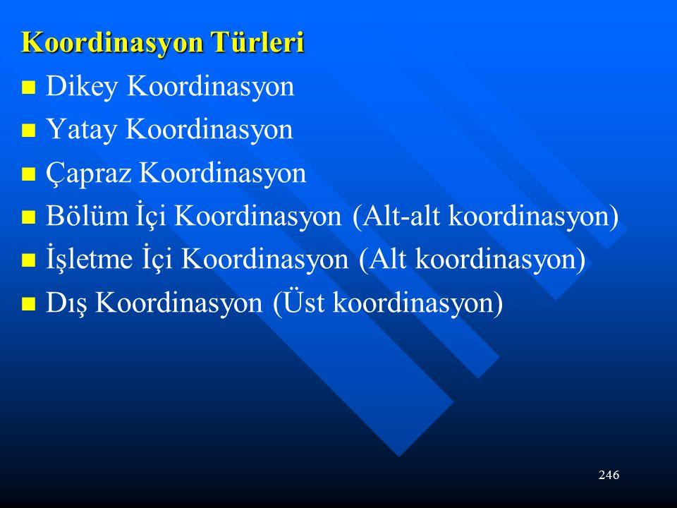 246 Koordinasyon Türleri Dikey Koordinasyon Yatay Koordinasyon Çapraz Koordinasyon Bölüm İçi Koordinasyon (Alt-alt koordinasyon) İşletme İçi Koordinasyon (Alt koordinasyon) Dış Koordinasyon (Üst koordinasyon)