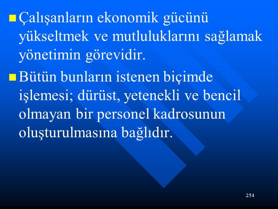 254 Çalışanların ekonomik gücünü yükseltmek ve mutluluklarını sağlamak yönetimin görevidir.