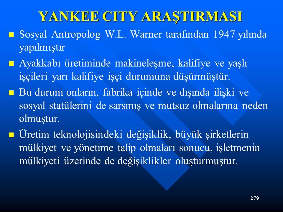279 YANKEE CITY ARAŞTIRMASI Sosyal Antropolog W.L.