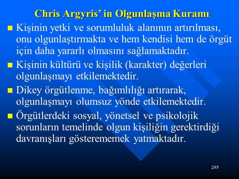 295 Chris Argyris' in Olgunlaşma Kuramı Kişinin yetki ve sorumluluk alanının artırılması, onu olgunlaştırmakta ve hem kendisi hem de örgüt için daha yararlı olmasını sağlamaktadır.
