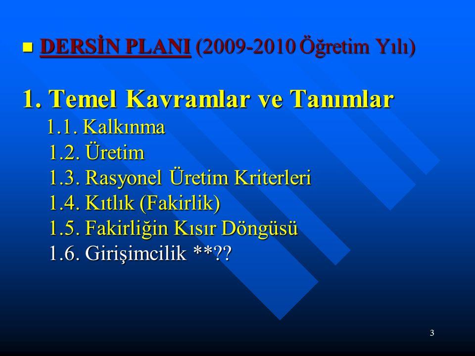 3 DERSİN PLANI (2009-2010 Öğretim Yılı) DERSİN PLANI (2009-2010 Öğretim Yılı) 1.