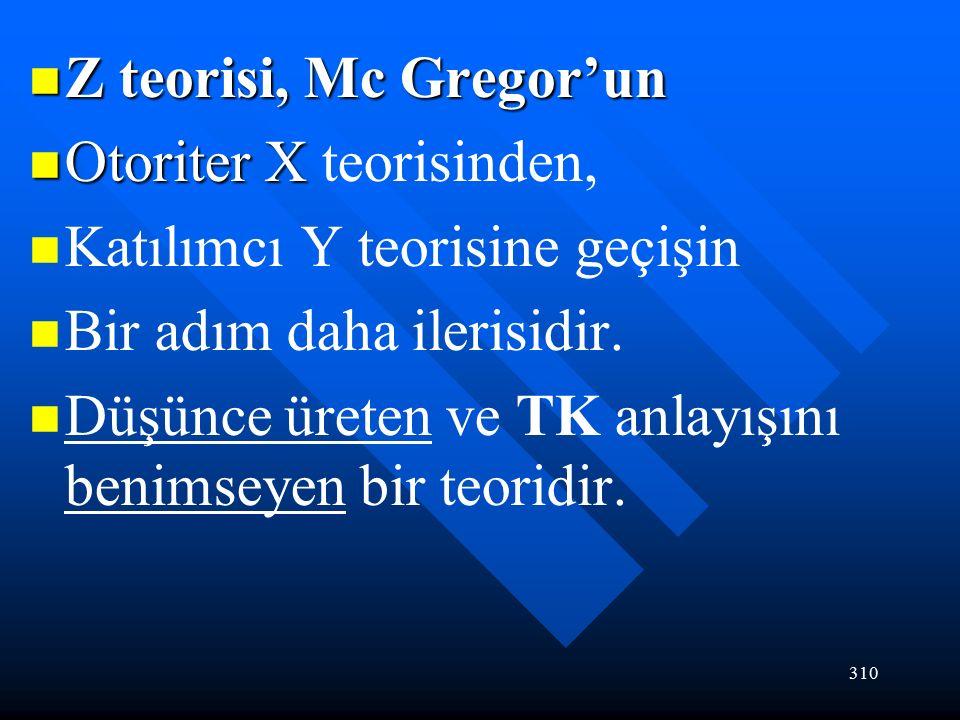 310 Z teorisi, Mc Gregor'un Z teorisi, Mc Gregor'un Otoriter X Otoriter X teorisinden, Katılımcı Y teorisine geçişin Bir adım daha ilerisidir.