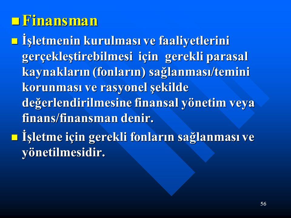 56 Finansman Finansman İşletmenin kurulması ve faaliyetlerini gerçekleştirebilmesi için gerekli parasal kaynakların (fonların) sağlanması/temini korunması ve rasyonel şekilde değerlendirilmesine finansal yönetim veya finans/finansman denir.