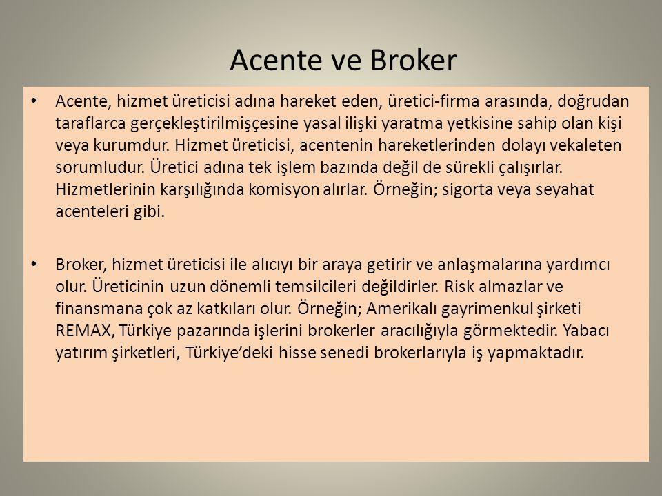 Acente ve Broker Acente, hizmet üreticisi adına hareket eden, üretici-firma arasında, doğrudan taraflarca gerçekleştirilmişçesine yasal ilişki yaratma yetkisine sahip olan kişi veya kurumdur.