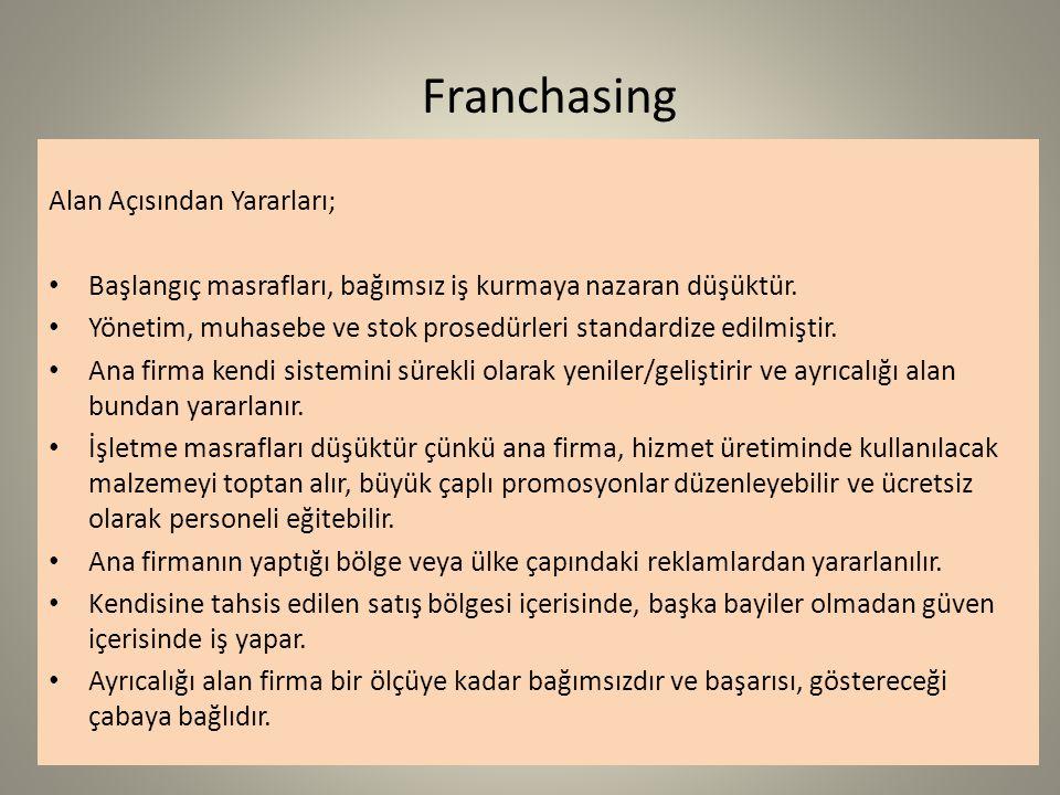 Franchasing Alan Açısından Yararları; Başlangıç masrafları, bağımsız iş kurmaya nazaran düşüktür.
