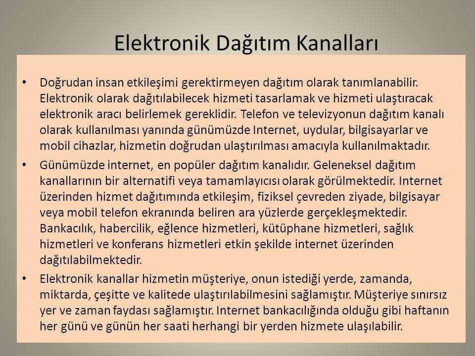 Elektronik Dağıtım Kanalları Doğrudan insan etkileşimi gerektirmeyen dağıtım olarak tanımlanabilir. Elektronik olarak dağıtılabilecek hizmeti tasarlam
