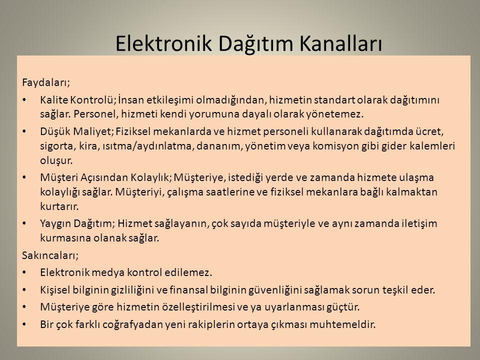 Elektronik Dağıtım Kanalları Faydaları; Kalite Kontrolü; İnsan etkileşimi olmadığından, hizmetin standart olarak dağıtımını sağlar. Personel, hizmeti