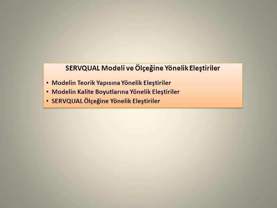 200 SERVQUAL Modeli ve Ölçeğine Yönelik Eleştiriler Modelin Teorik Yapısına Yönelik Eleştiriler Modelin Kalite Boyutlarına Yönelik Eleştiriler SERVQUA