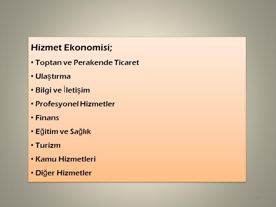 Hizmet Ekonomisi; Toptan ve Perakende Ticaret Ula ş tırma Bilgi ve İ leti ş im Profesyonel Hizmetler Finans E ğ itim ve Sa ğ lık Turizm Kamu Hizmetler