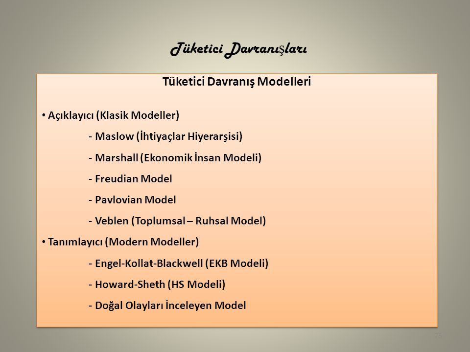 75 Tüketici Davranış Modelleri Açıklayıcı (Klasik Modeller) - Maslow (İhtiyaçlar Hiyerarşisi) - Marshall (Ekonomik İnsan Modeli) - Freudian Model - Pavlovian Model - Veblen (Toplumsal – Ruhsal Model) Tanımlayıcı (Modern Modeller) - Engel-Kollat-Blackwell (EKB Modeli) - Howard-Sheth (HS Modeli) - Doğal Olayları İnceleyen Model Tüketici Davranış Modelleri Açıklayıcı (Klasik Modeller) - Maslow (İhtiyaçlar Hiyerarşisi) - Marshall (Ekonomik İnsan Modeli) - Freudian Model - Pavlovian Model - Veblen (Toplumsal – Ruhsal Model) Tanımlayıcı (Modern Modeller) - Engel-Kollat-Blackwell (EKB Modeli) - Howard-Sheth (HS Modeli) - Doğal Olayları İnceleyen Model Tüketici Davranı ş ları