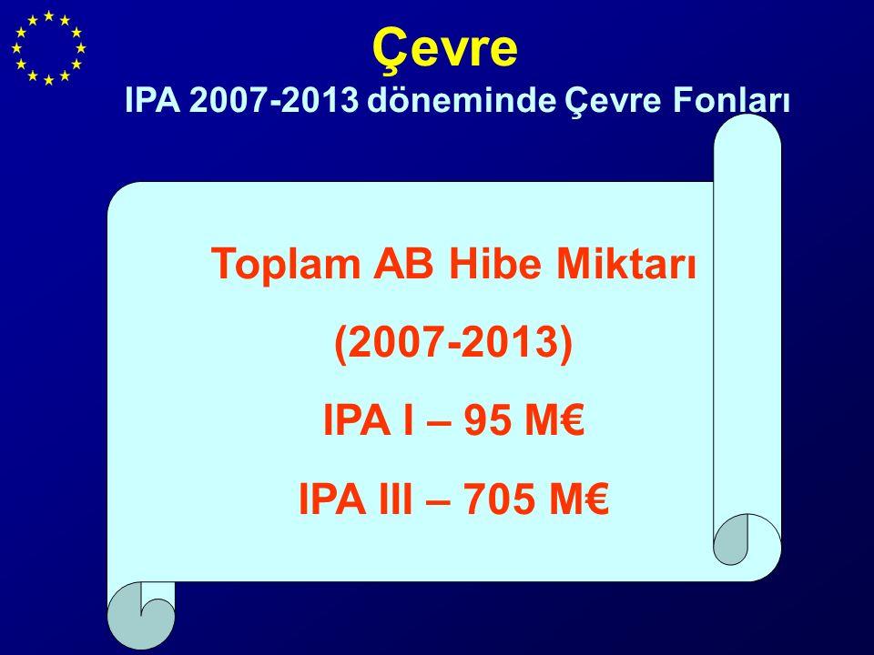 Çevre IPA 2007-2013 döneminde Çevre Fonları Toplam AB Hibe Miktarı (2007-2013) IPA I – 95 M€ IPA III – 705 M€