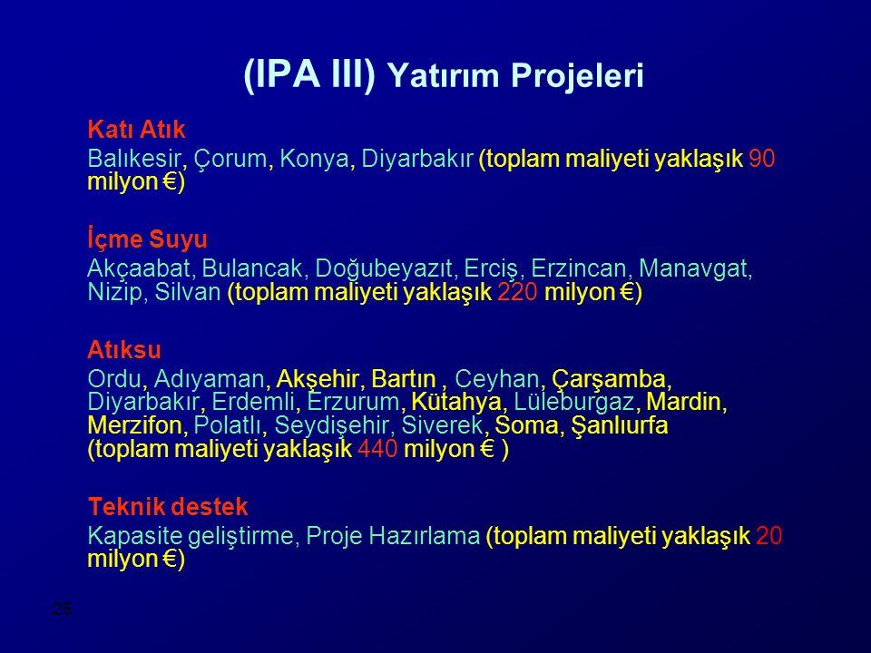 25 (IPA III) Yatırım Projeleri Katı Atık Balıkesir, Çorum, Konya, Diyarbakır (toplam maliyeti yaklaşık 90 milyon €) İçme Suyu Akçaabat, Bulancak, Doğu