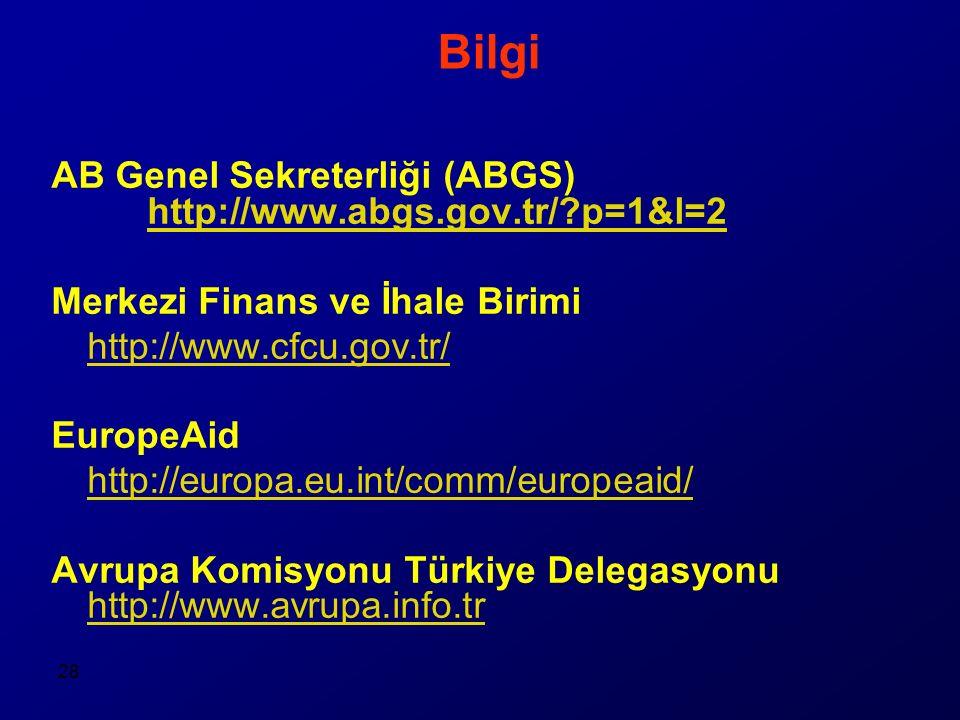 28 Bilgi AB Genel Sekreterliği (ABGS) http://www.abgs.gov.tr/ p=1&l=2 http://www.abgs.gov.tr/ p=1&l=2 Merkezi Finans ve İhale Birimi http://www.cfcu.gov.tr/ EuropeAid http://europa.eu.int/comm/europeaid/ Avrupa Komisyonu Türkiye Delegasyonu http://www.avrupa.info.tr http://www.avrupa.info.tr