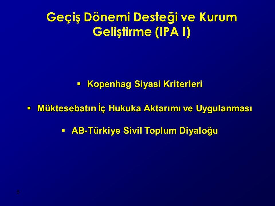 6 Geçiş Dönemi Desteği ve Kurum Geliştirme (IPA I)  Kopenhag Siyasi Kriterleri  Müktesebatın İç Hukuka Aktarımı ve Uygulanması  AB-Türkiye Sivil Toplum Diyaloğu