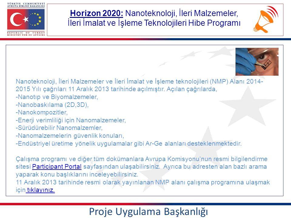 Horizon 2020: Nanoteknoloji, İleri Malzemeler, İleri İmalat ve İşleme Teknolojileri Hibe Programı Proje Uygulama Başkanlığı Nanoteknoloji, İleri Malzemeler ve İleri İmalat ve İşleme teknolojileri (NMP) Alanı 2014- 2015 Yılı çağrıları 11 Aralık 2013 tarihinde açılmıştır.