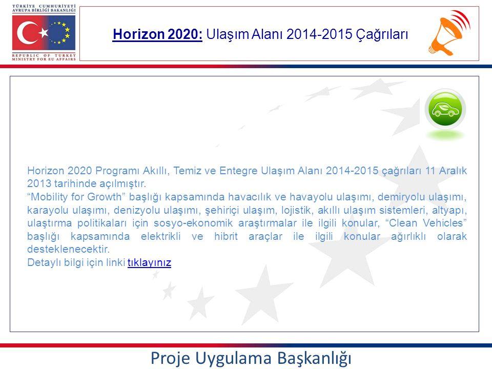 Horizon 2020: Ulaşım Alanı 2014-2015 Çağrıları Proje Uygulama Başkanlığı Horizon 2020 Programı Akıllı, Temiz ve Entegre Ulaşım Alanı 2014-2015 çağrıları 11 Aralık 2013 tarihinde açılmıştır.