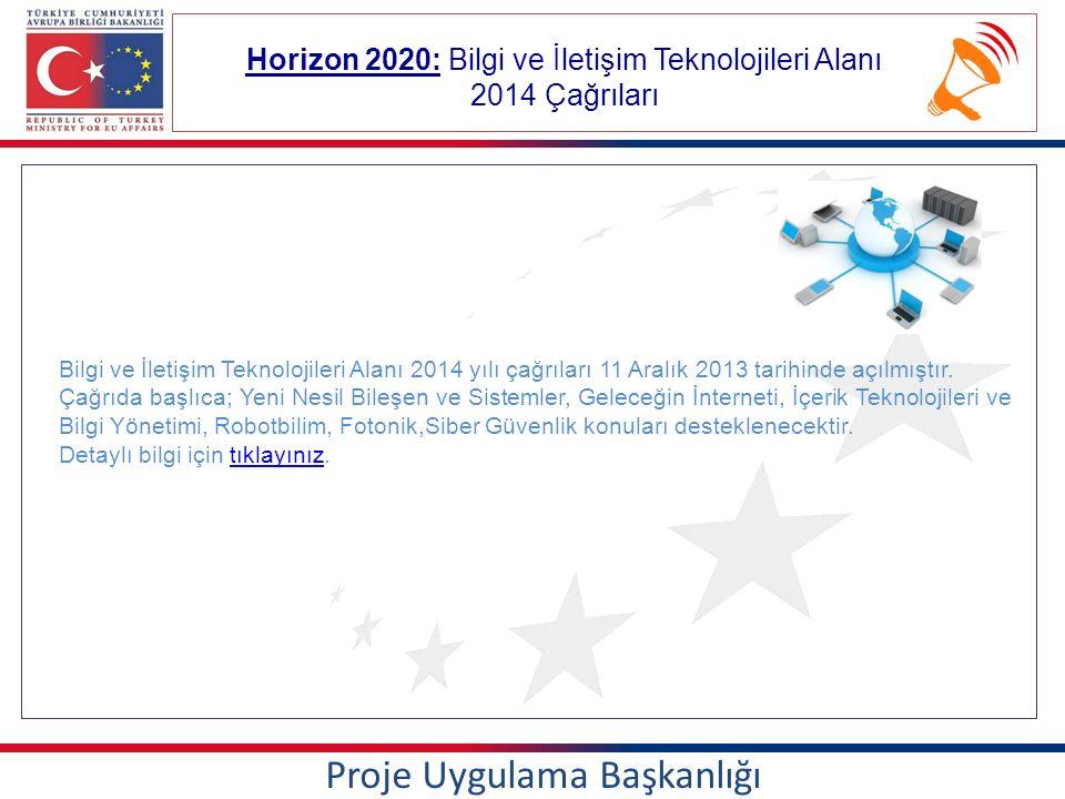 Horizon 2020: Bilgi ve İletişim Teknolojileri Alanı 2014 Çağrıları Proje Uygulama Başkanlığı Bilgi ve İletişim Teknolojileri Alanı 2014 yılı çağrıları 11 Aralık 2013 tarihinde açılmıştır.