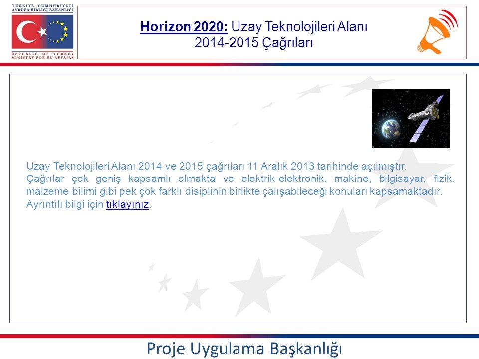 Horizon 2020: Uzay Teknolojileri Alanı 2014-2015 Çağrıları Proje Uygulama Başkanlığı Uzay Teknolojileri Alanı 2014 ve 2015 çağrıları 11 Aralık 2013 tarihinde açılmıştır.