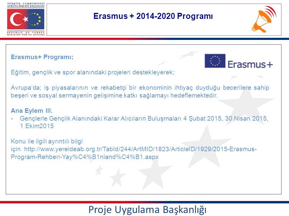 Erasmus + 2014-2020 Programı Proje Uygulama Başkanlığı Erasmus+ Programı; Eğitim, gençlik ve spor alanındaki projeleri destekleyerek; Avrupa'da; iş piyasalarının ve rekabetçi bir ekonominin ihtiyaç duyduğu becerilere sahip beşeri ve sosyal sermayenin gelişimine katkı sağlamayı hedeflemektedir.