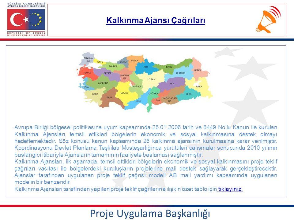 Kalkınma Ajansı Çağrıları Proje Uygulama Başkanlığı Avrupa Birliği bölgesel politikasına uyum kapsamında 25.01.2006 tarih ve 5449 No lu Kanun ile kurulan Kalkınma Ajansları temsil ettikleri bölgelerin ekonomik ve sosyal kalkınmasına destek olmayı hedeflemektedir.