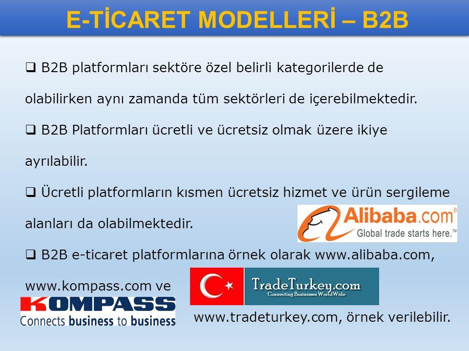 E-TİCARET MODELLERİ – B2B  B2B platformları sektöre özel belirli kategorilerde de olabilirken aynı zamanda tüm sektörleri de içerebilmektedir.  B2B