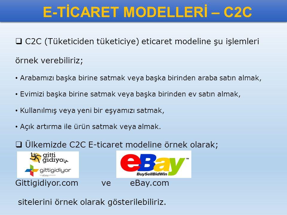 E-TİCARET MODELLERİ – C2C  C2C (Tüketiciden tüketiciye) eticaret modeline şu işlemleri örnek verebiliriz; Arabamızı başka birine satmak veya başka bi