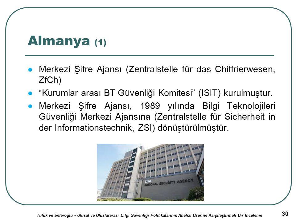 30 Almanya (1) Merkezi Şifre Ajansı (Zentralstelle für das Chiffrierwesen, ZfCh) Kurumlar arası BT Güvenliği Komitesi (ISIT) kurulmuştur.