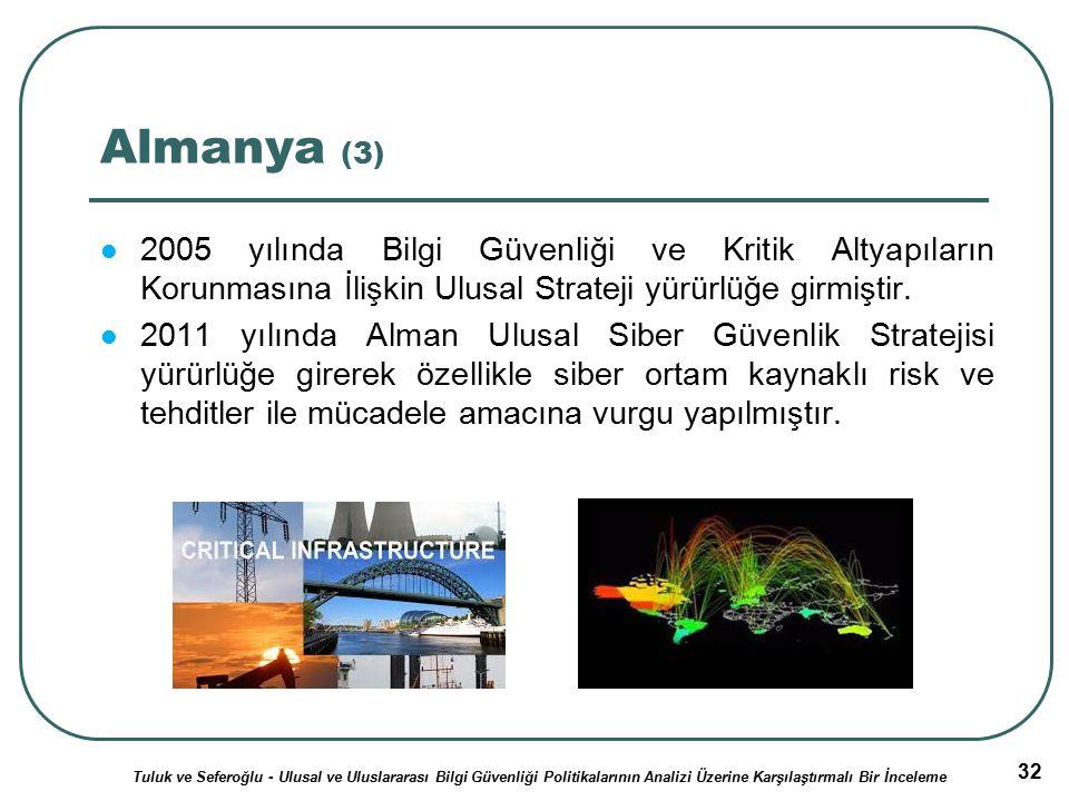 32 Almanya (3) 2005 yılında Bilgi Güvenliği ve Kritik Altyapıların Korunmasına İlişkin Ulusal Strateji yürürlüğe girmiştir.