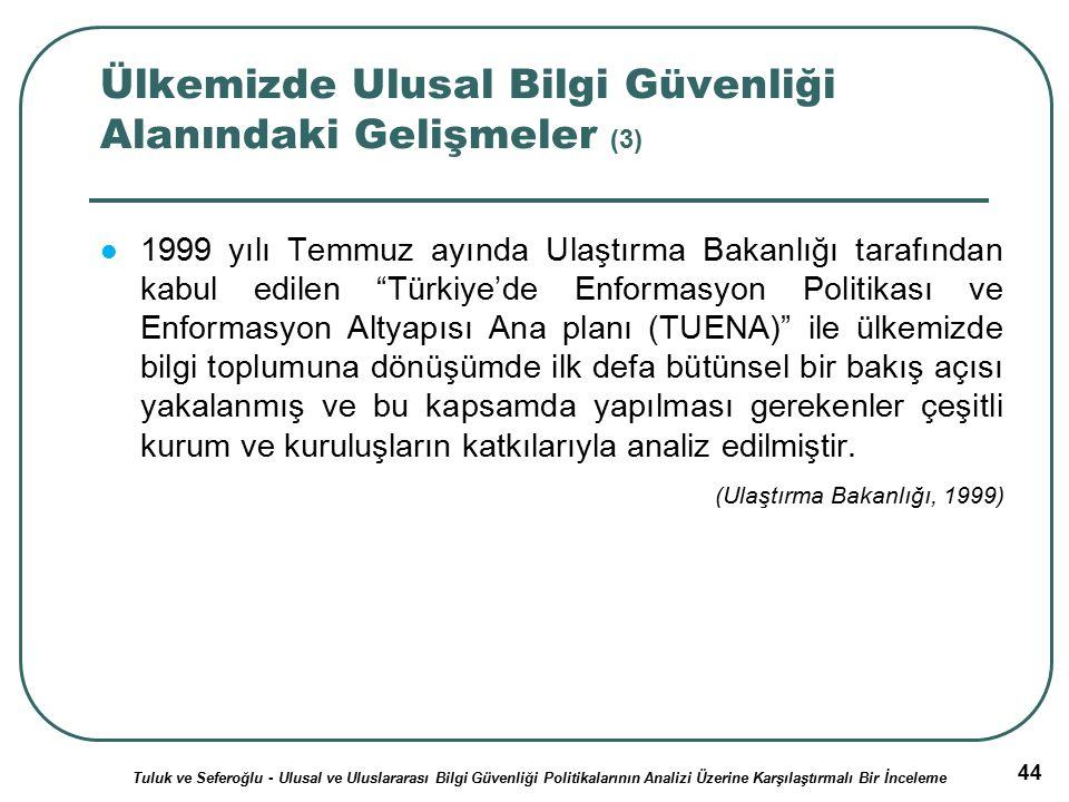 44 Ülkemizde Ulusal Bilgi Güvenliği Alanındaki Gelişmeler (3) 1999 yılı Temmuz ayında Ulaştırma Bakanlığı tarafından kabul edilen Türkiye'de Enformasyon Politikası ve Enformasyon Altyapısı Ana planı (TUENA) ile ülkemizde bilgi toplumuna dönüşümde ilk defa bütünsel bir bakış açısı yakalanmış ve bu kapsamda yapılması gerekenler çeşitli kurum ve kuruluşların katkılarıyla analiz edilmiştir.