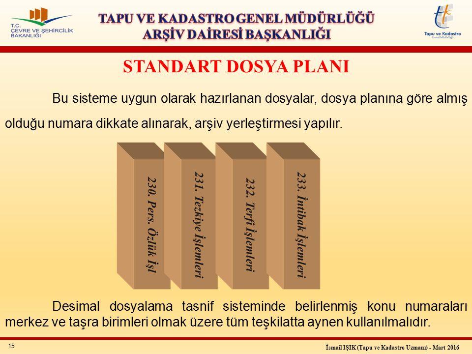 15 İsmail IŞIK (Tapu ve Kadastro Uzmanı) - Mart 2016 STANDART DOSYA PLANI Bu sisteme uygun olarak hazırlanan dosyalar, dosya planına göre almış olduğu numara dikkate alınarak, arşiv yerleştirmesi yapılır.