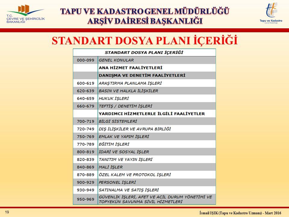 19 İsmail IŞIK (Tapu ve Kadastro Uzmanı) - Mart 2016 STANDART DOSYA PLANI İÇERİĞİ