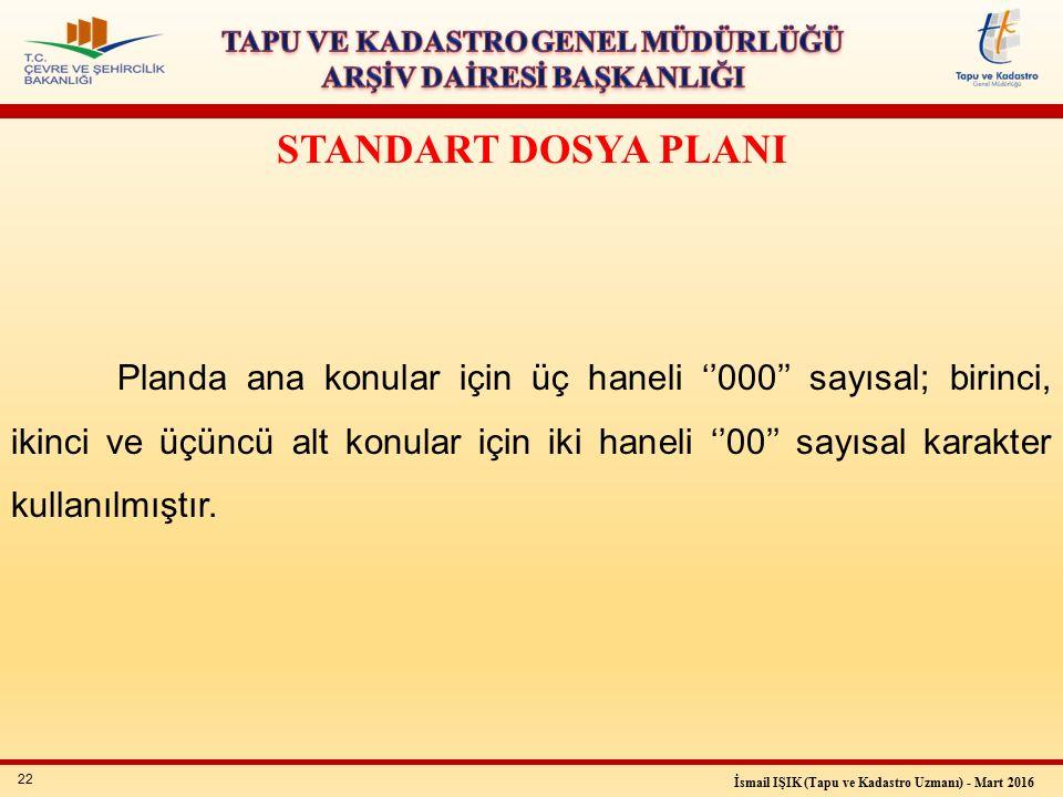22 İsmail IŞIK (Tapu ve Kadastro Uzmanı) - Mart 2016 STANDART DOSYA PLANI Planda ana konular için üç haneli ''000'' sayısal; birinci, ikinci ve üçüncü alt konular için iki haneli ''00'' sayısal karakter kullanılmıştır.