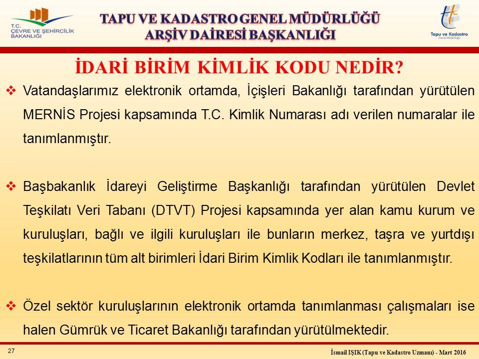 27 İsmail IŞIK (Tapu ve Kadastro Uzmanı) - Mart 2016  Vatandaşlarımız elektronik ortamda, İçişleri Bakanlığı tarafından yürütülen MERNİS Projesi kapsamında T.C.