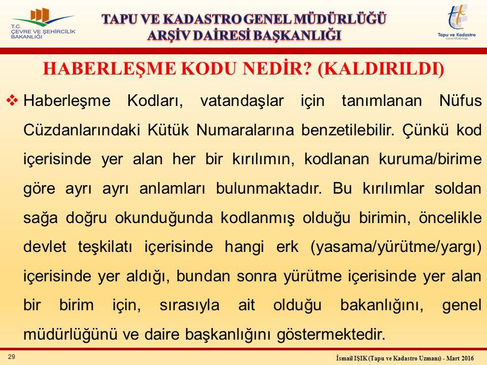 29 İsmail IŞIK (Tapu ve Kadastro Uzmanı) - Mart 2016 HABERLEŞME KODU NEDİR.