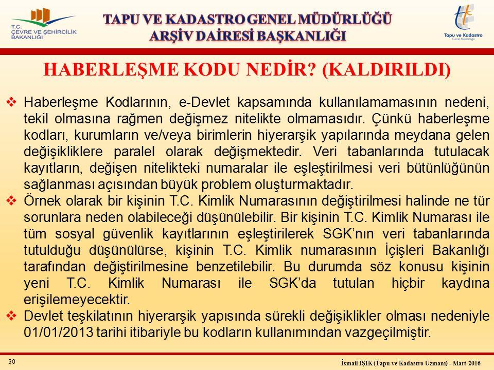 30 İsmail IŞIK (Tapu ve Kadastro Uzmanı) - Mart 2016 HABERLEŞME KODU NEDİR.