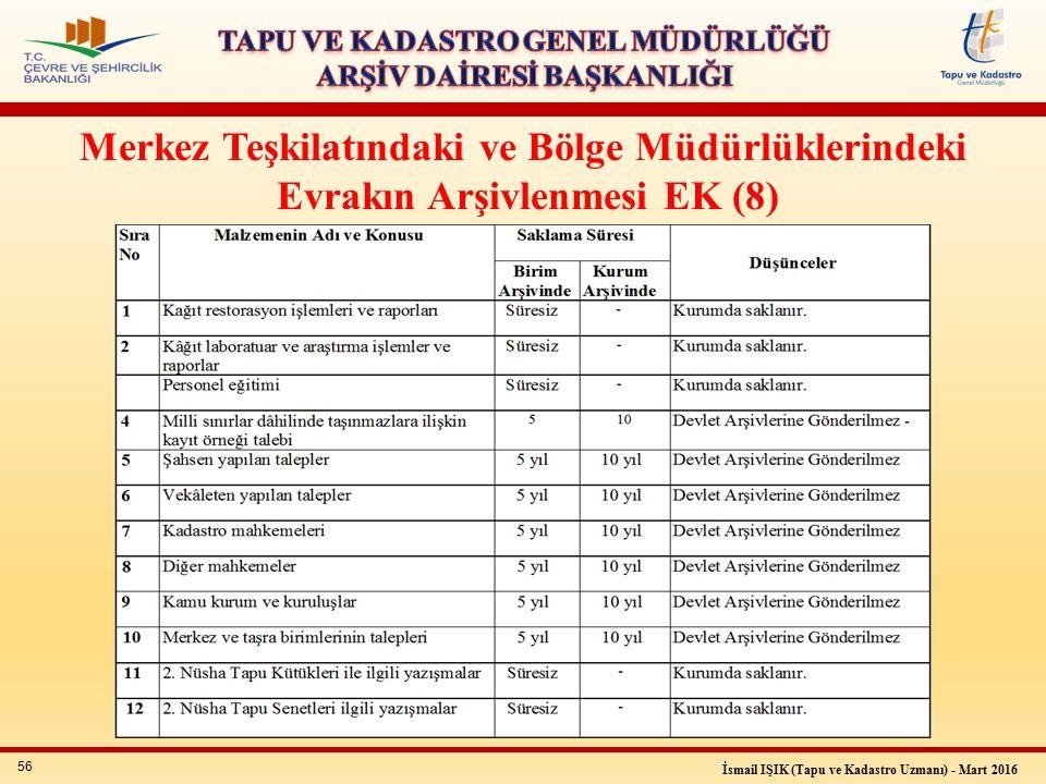 56 İsmail IŞIK (Tapu ve Kadastro Uzmanı) - Mart 2016 Merkez Teşkilatındaki ve Bölge Müdürlüklerindeki Evrakın Arşivlenmesi EK (8)